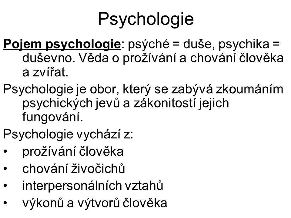 Psychologie Pojem psychologie: psýché = duše, psychika = duševno. Věda o prožívání a chování člověka a zvířat. Psychologie je obor, který se zabývá zk
