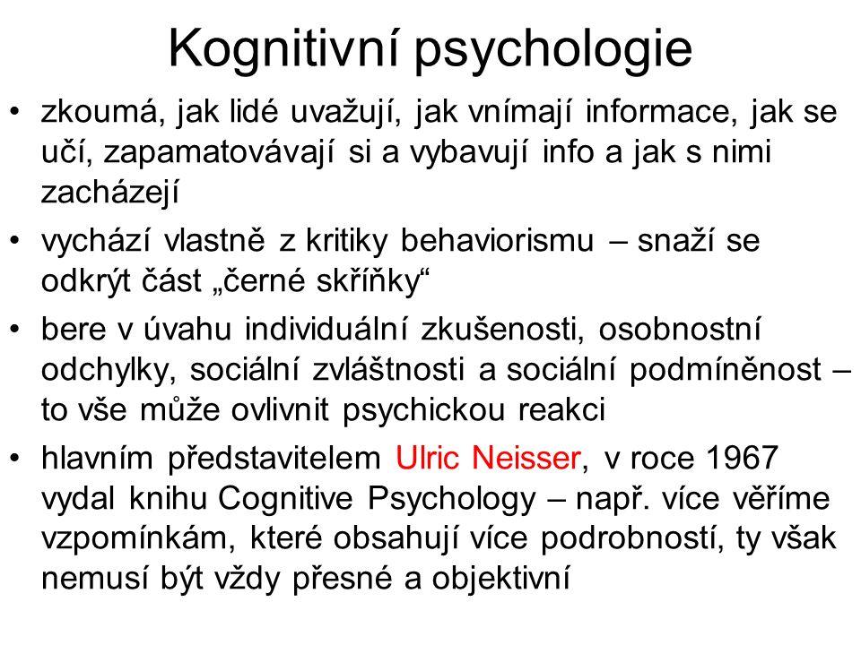 Kognitivní psychologie zkoumá, jak lidé uvažují, jak vnímají informace, jak se učí, zapamatovávají si a vybavují info a jak s nimi zacházejí vychází v