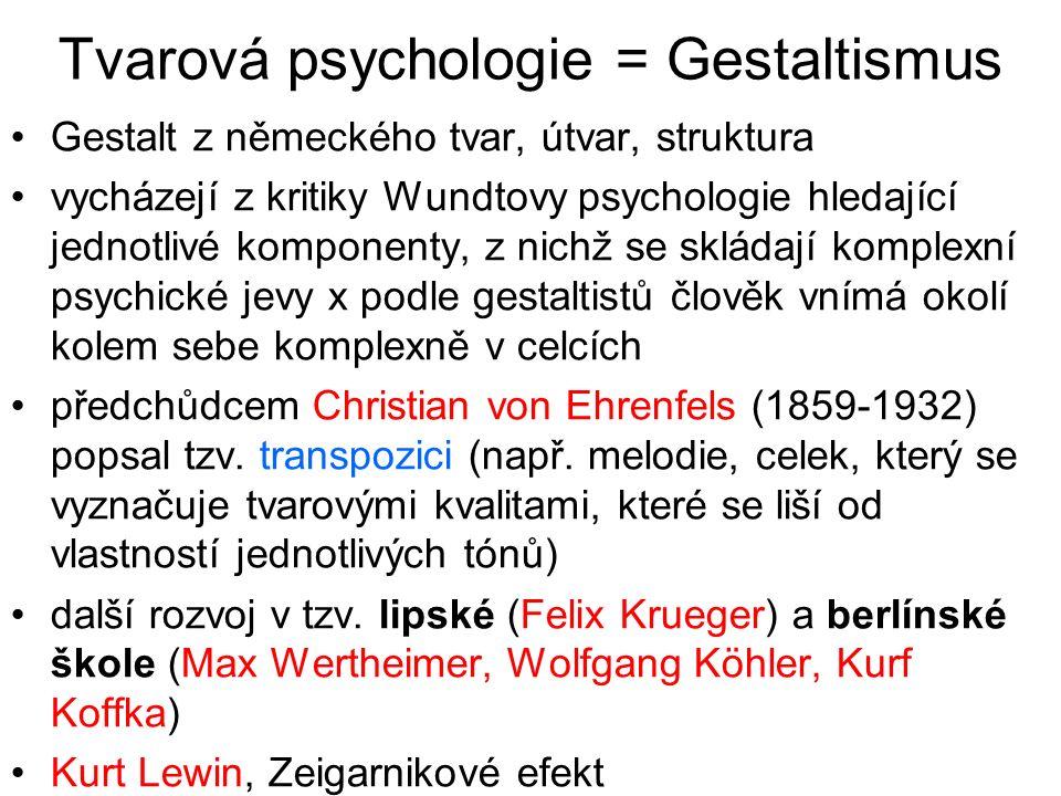 Tvarová psychologie = Gestaltismus Gestalt z německého tvar, útvar, struktura vycházejí z kritiky Wundtovy psychologie hledající jednotlivé komponenty