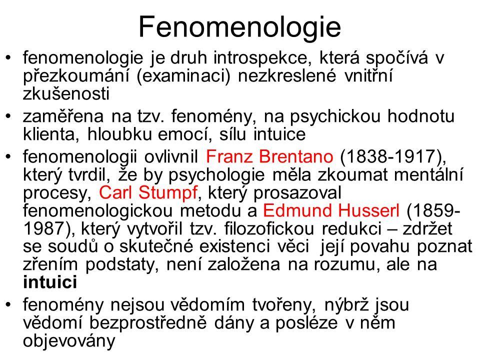 Fenomenologie fenomenologie je druh introspekce, která spočívá v přezkoumání (examinaci) nezkreslené vnitřní zkušenosti zaměřena na tzv. fenomény, na