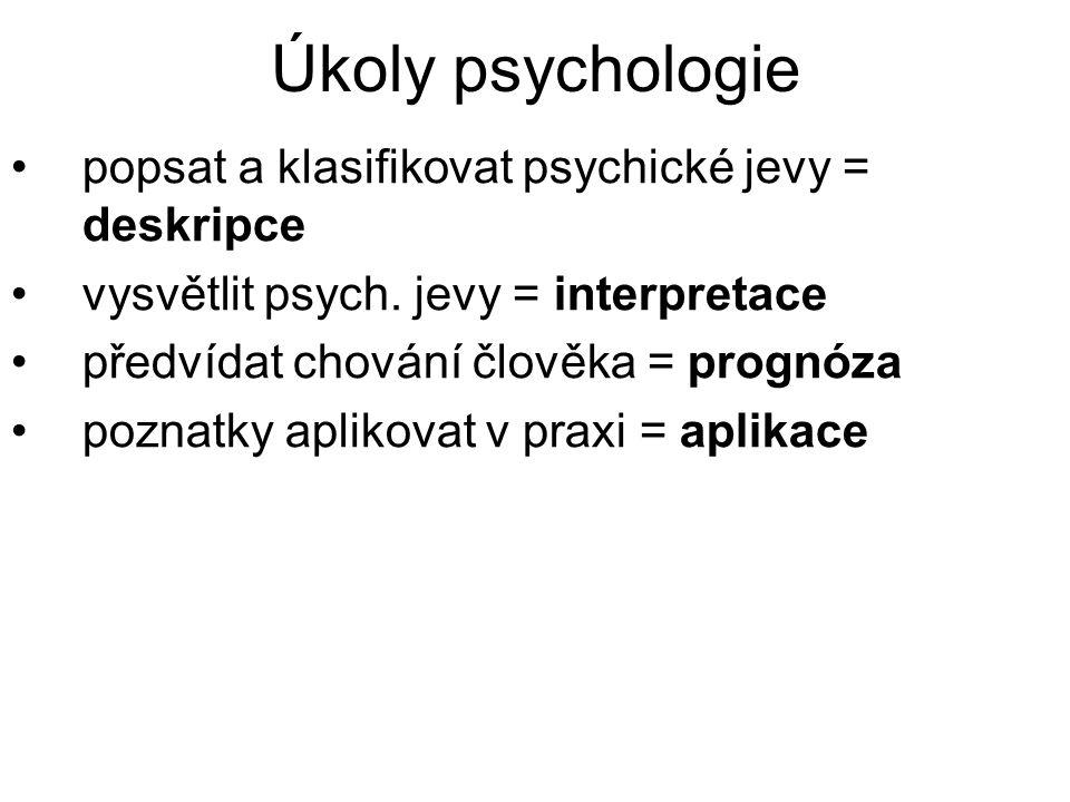 Úkoly psychologie popsat a klasifikovat psychické jevy = deskripce vysvětlit psych. jevy = interpretace předvídat chování člověka = prognóza poznatky