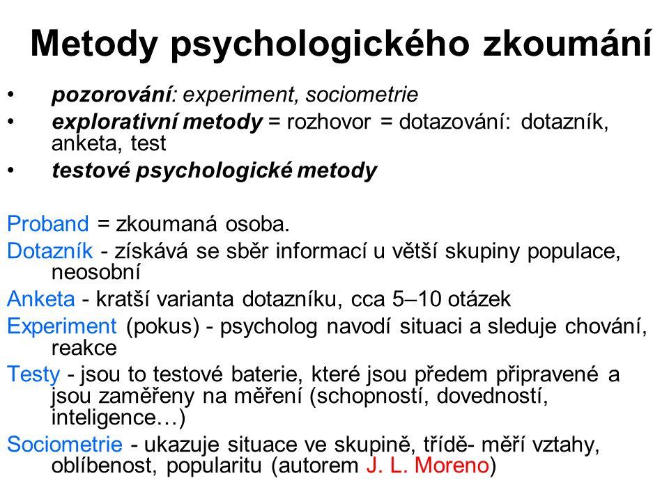 Metody psychologického zkoumání pozorování: experiment, sociometrie explorativní metody = rozhovor = dotazování: dotazník, anketa, test testové psycho