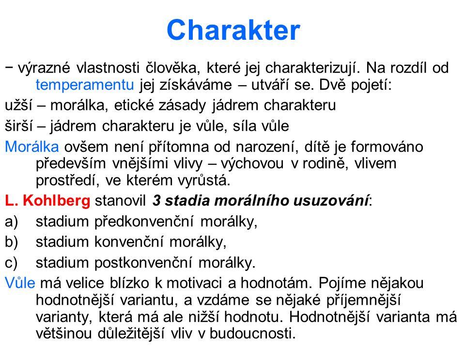 Charakter − výrazné vlastnosti člověka, které jej charakterizují. Na rozdíl od temperamentu jej získáváme – utváří se. Dvě pojetí: užší – morálka, eti