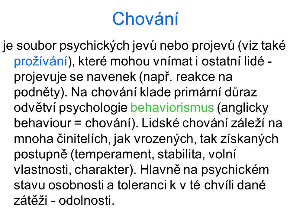 Chování je soubor psychických jevů nebo projevů (viz také prožívání), které mohou vnímat i ostatní lidé - projevuje se navenek (např. reakce na podnět
