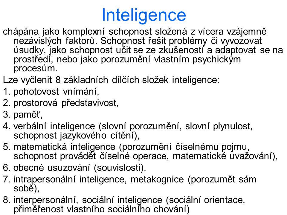 Inteligence chápána jako komplexní schopnost složená z vícera vzájemně nezávislých faktorů. Schopnost řešit problémy či vyvozovat úsudky, jako schopno