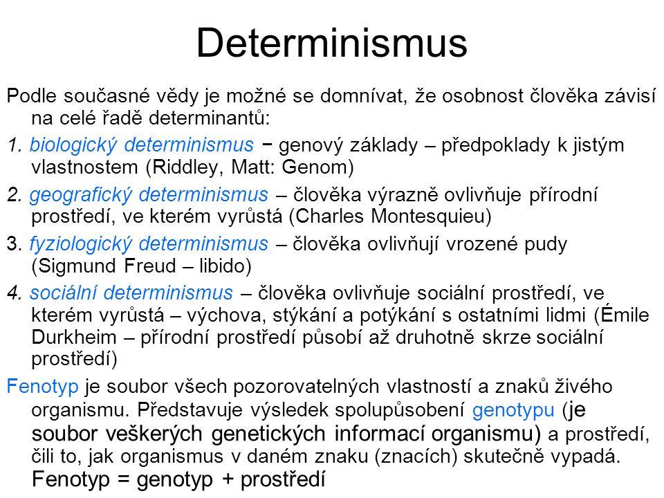 Determinismus Podle současné vědy je možné se domnívat, že osobnost člověka závisí na celé řadě determinantů: 1. biologický determinismus − genový zák