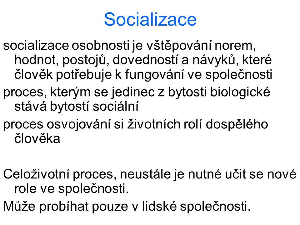 Socializace socializace osobnosti je vštěpování norem, hodnot, postojů, dovedností a návyků, které člověk potřebuje k fungování ve společnosti proces,