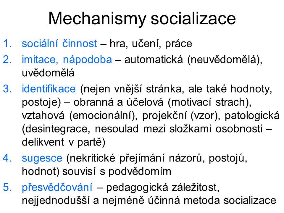 Mechanismy socializace 1.sociální činnost – hra, učení, práce 2.imitace, nápodoba – automatická (neuvědomělá), uvědomělá 3.identifikace (nejen vnější
