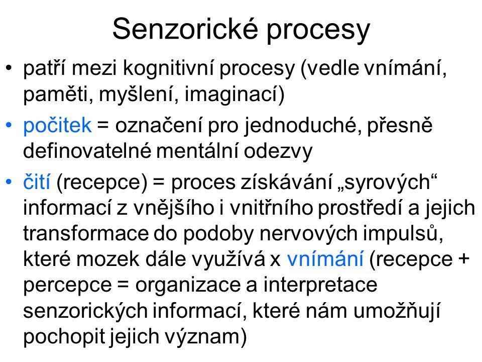 Senzorické procesy patří mezi kognitivní procesy (vedle vnímání, paměti, myšlení, imaginací) počitek = označení pro jednoduché, přesně definovatelné m