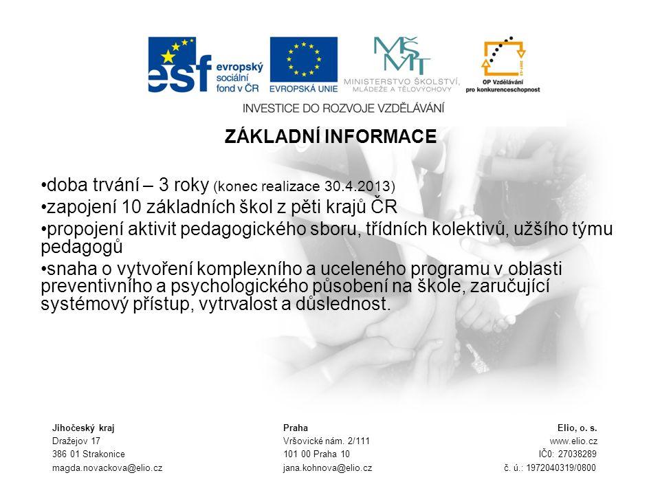 ZÁKLADNÍ INFORMACE doba trvání – 3 roky (konec realizace 30.4.2013) zapojení 10 základních škol z pěti krajů ČR propojení aktivit pedagogického sboru,