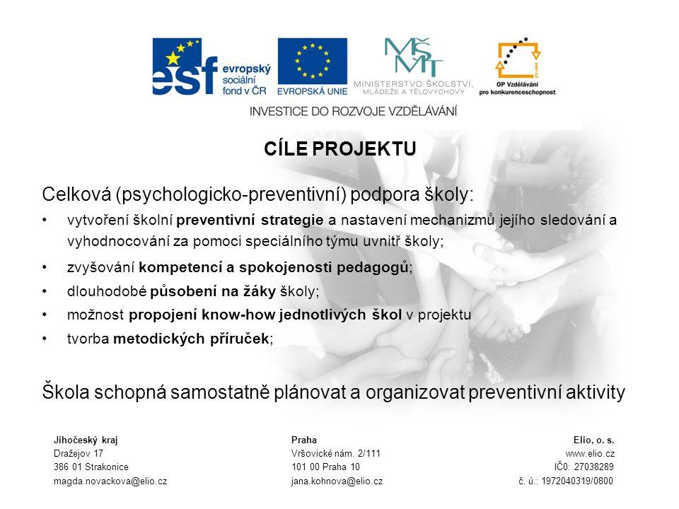 CÍLE PROJEKTU Celková (psychologicko-preventivní) podpora školy: vytvoření školní preventivní strategie a nastavení mechanizmů jejího sledování a vyho