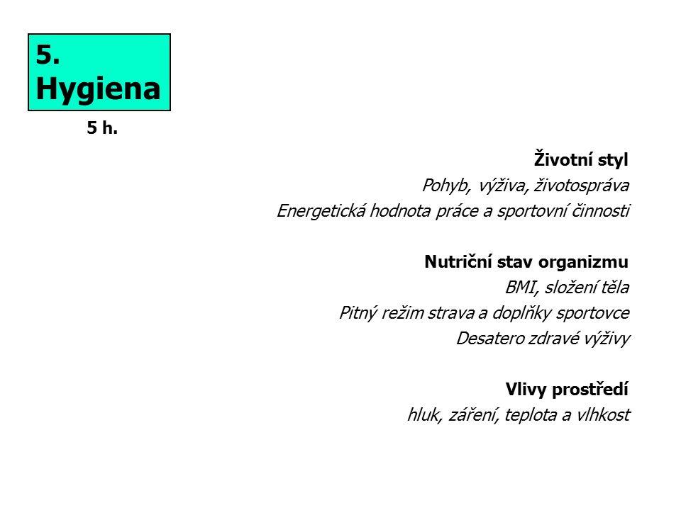 5. Hygiena Životní styl Pohyb, výživa, životospráva Energetická hodnota práce a sportovní činnosti Nutriční stav organizmu BMI, složení těla Pitný rež