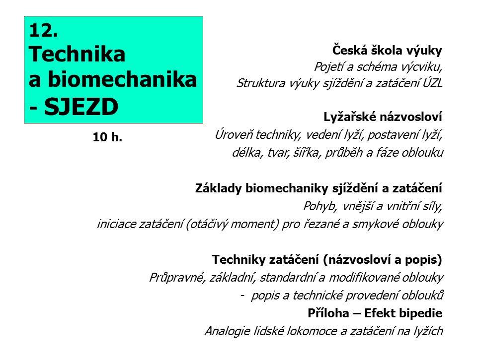 12. Technika a biomechanika - SJEZD 10 h.