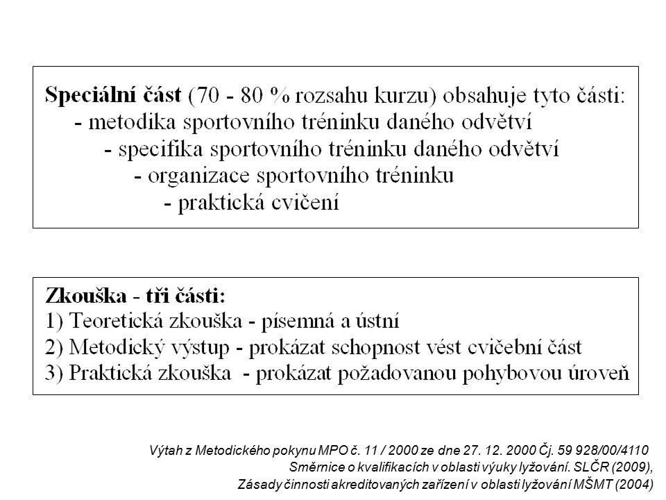 Výtah z Metodického pokynu MPO č. 11 / 2000 ze dne 27.
