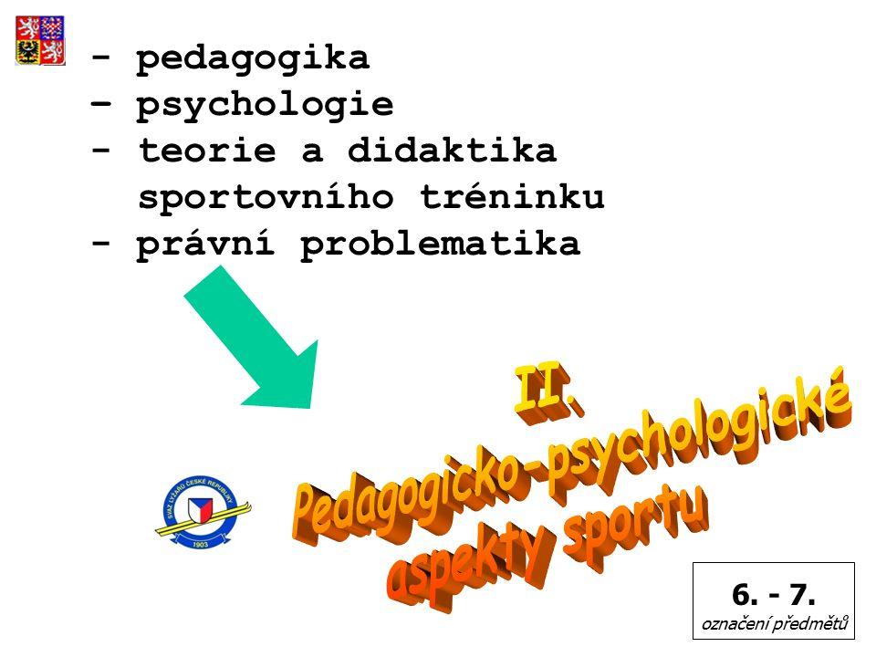 - pedagogika – psychologie - teorie a didaktika sportovního tréninku - právní problematika 6.