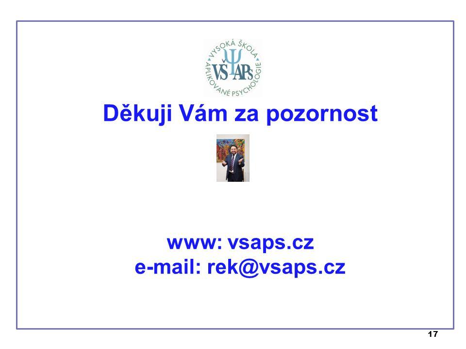 17 Děkuji Vám za pozornost www: vsaps.cz e-mail: rek@vsaps.cz
