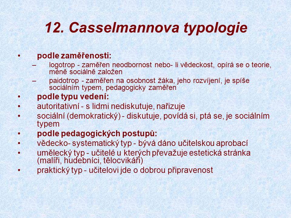 12. Casselmannova typologie podle zaměřenosti: –logotrop - zaměřen neodbornost nebo- li vědeckost, opírá se o teorie, méně sociálně založen –paidotrop