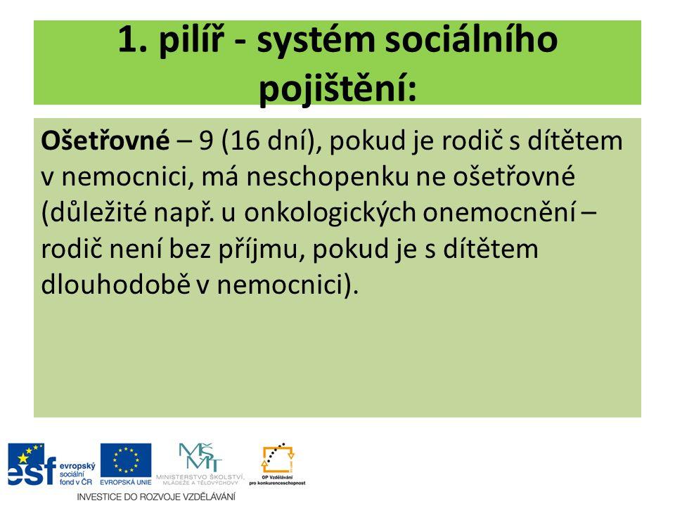 1. pilíř - systém sociálního pojištění: Ošetřovné – 9 (16 dní), pokud je rodič s dítětem v nemocnici, má neschopenku ne ošetřovné (důležité např. u on