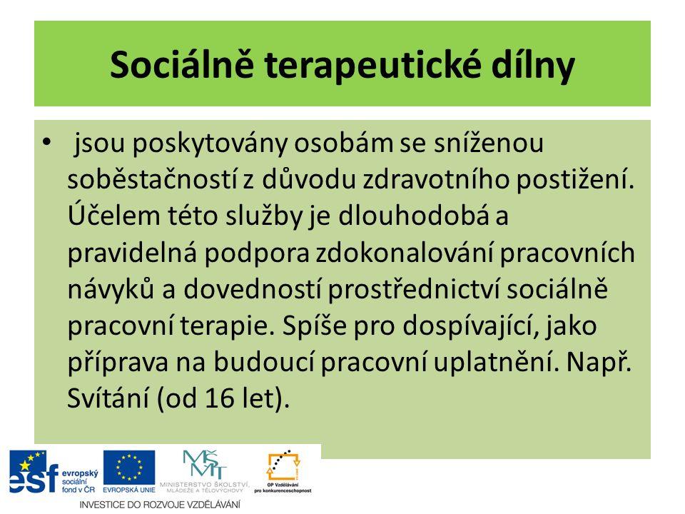 Sociálně terapeutické dílny jsou poskytovány osobám se sníženou soběstačností z důvodu zdravotního postižení. Účelem této služby je dlouhodobá a pravi