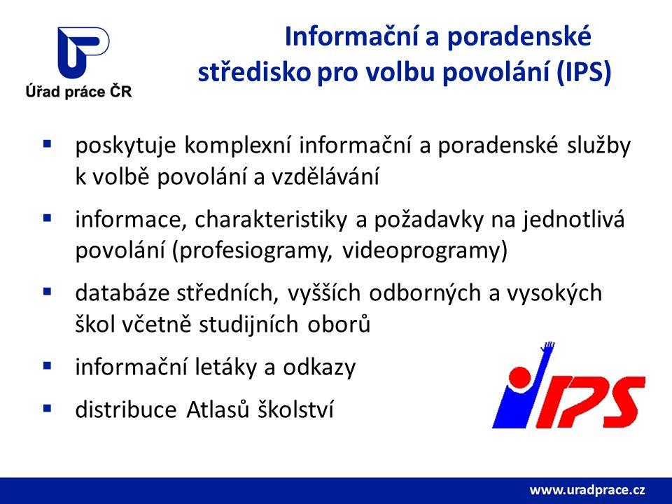 Informační a poradenské středisko pro volbu povolání (IPS)  poskytuje komplexní informační a poradenské služby k volbě povolání a vzdělávání  informace, charakteristiky a požadavky na jednotlivá povolání (profesiogramy, videoprogramy)  databáze středních, vyšších odborných a vysokých škol včetně studijních oborů  informační letáky a odkazy  distribuce Atlasů školství
