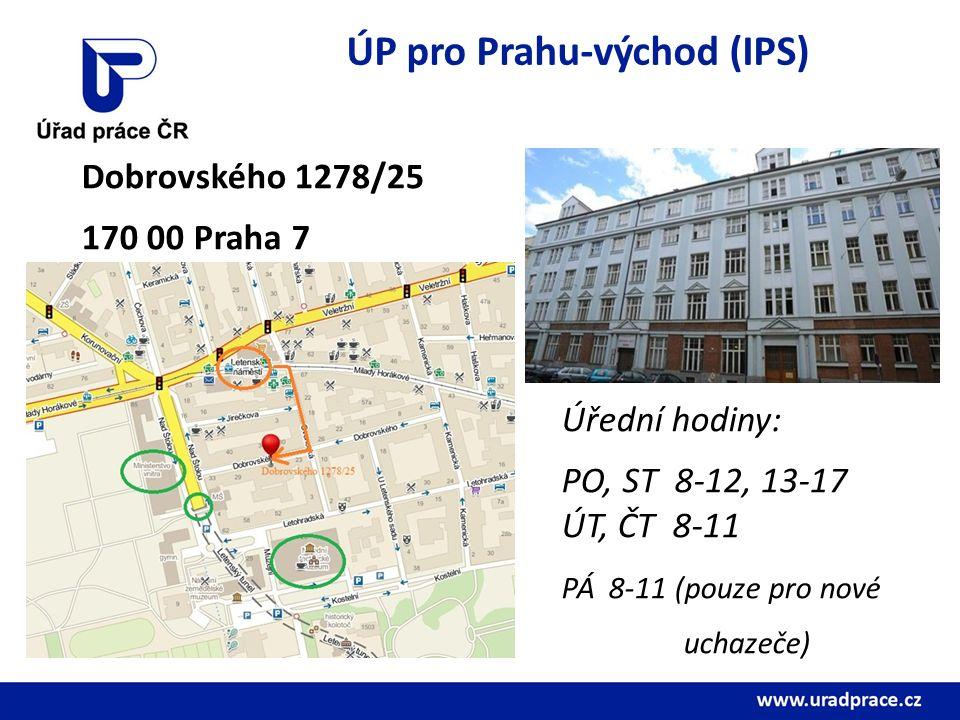 ÚP pro Prahu-východ (IPS) Dobrovského 1278/25 170 00 Praha 7 Úřední hodiny: PO, ST 8-12, 13-17 ÚT, ČT 8-11 PÁ 8-11 (pouze pro nové uchazeče)
