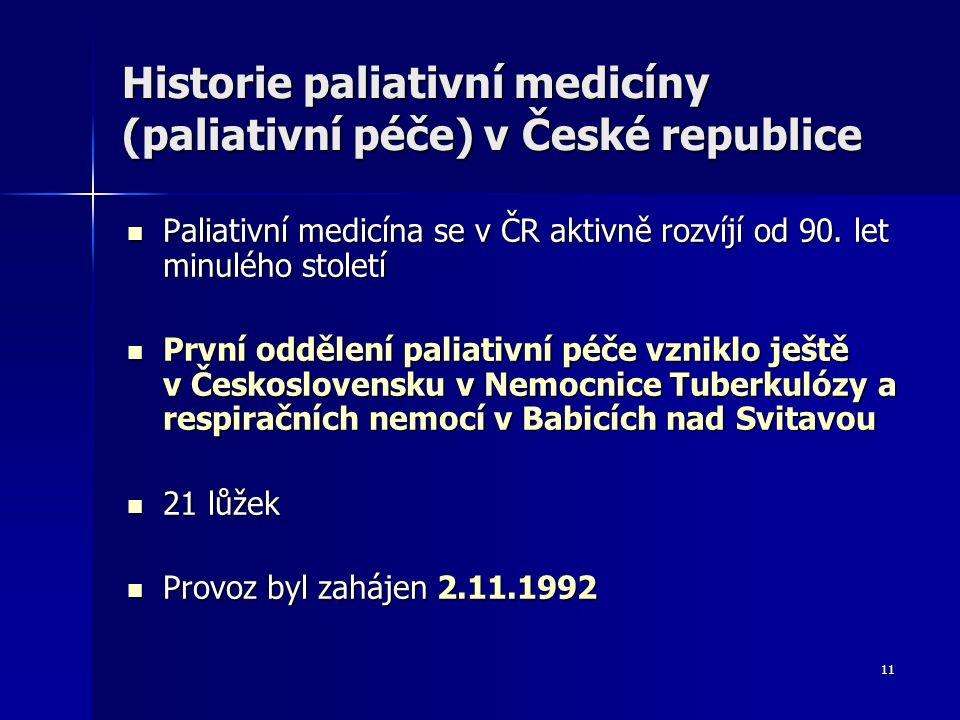 11 Historie paliativní medicíny (paliativní péče) v České republice Paliativní medicína se v ČR aktivně rozvíjí od 90. let minulého století Paliativní