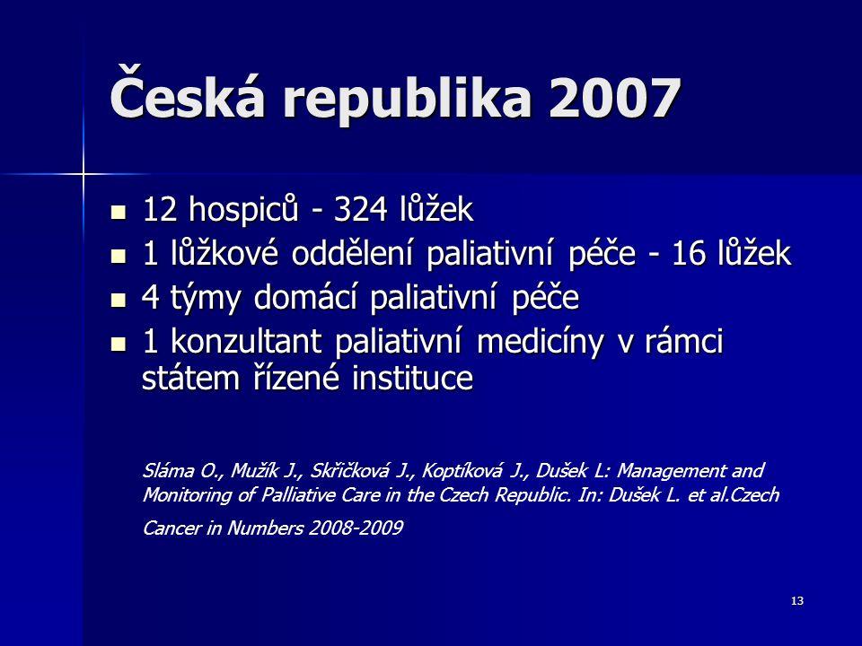 13 Česká republika 2007 12 hospiců - 324 lůžek 12 hospiců - 324 lůžek 1 lůžkové oddělení paliativní péče - 16 lůžek 1 lůžkové oddělení paliativní péče
