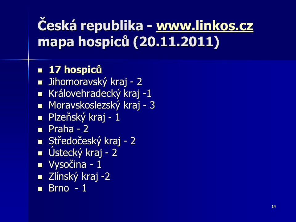 14 Česká republika - www.linkos.cz mapa hospiců (20.11.2011) www.linkos.cz 17 hospiců 17 hospiců Jihomoravský kraj - 2 Jihomoravský kraj - 2 Královehr