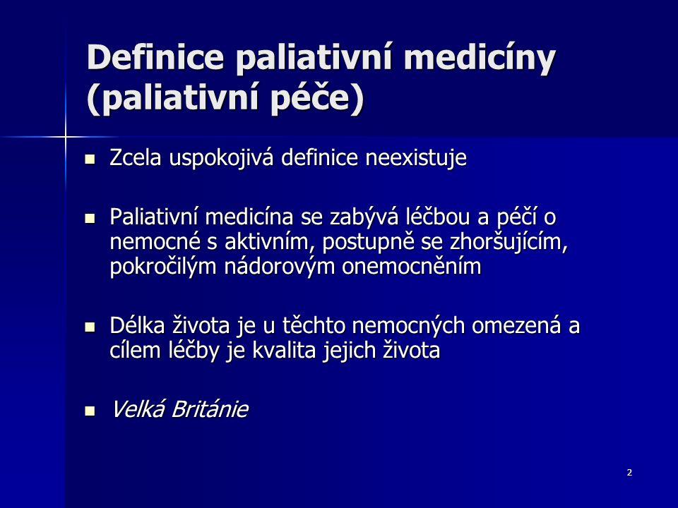 2 Definice paliativní medicíny (paliativní péče) Zcela uspokojivá definice neexistuje Zcela uspokojivá definice neexistuje Paliativní medicína se zabý