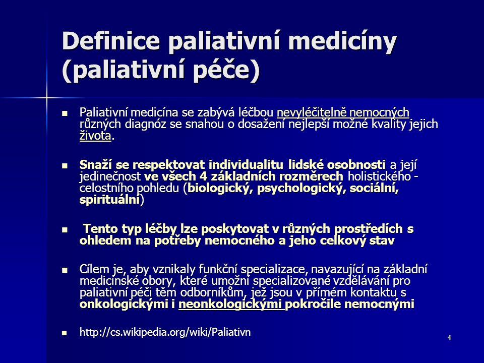 4 Definice paliativní medicíny (paliativní péče) Paliativní medicína se zabývá léčbou nevyléčitelně nemocných různých diagnóz se snahou o dosažení nej