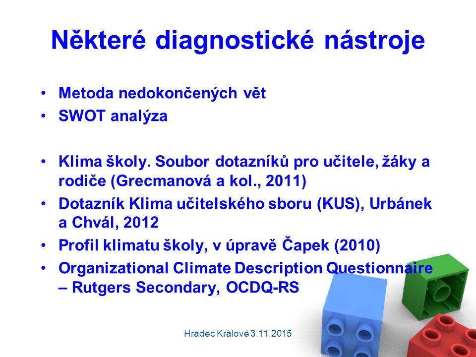 Některé diagnostické nástroje Metoda nedokončených vět SWOT analýza Klima školy.