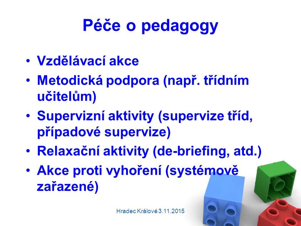 Péče o pedagogy Vzdělávací akce Metodická podpora (např.