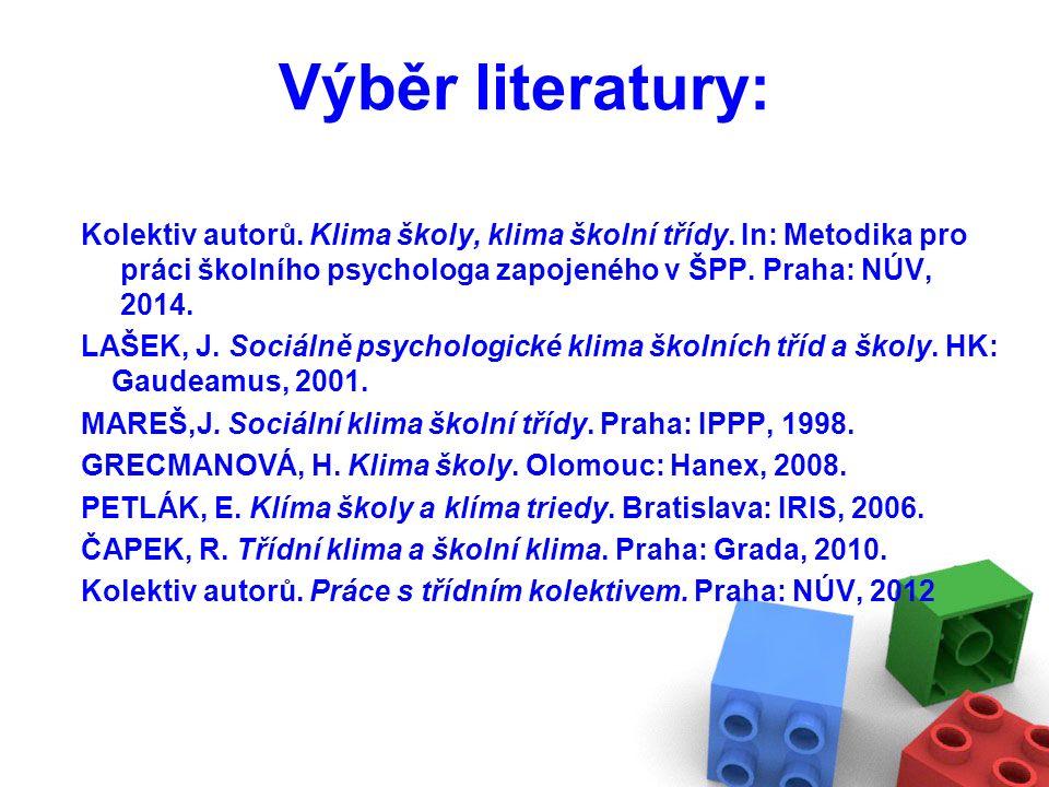 Výběr literatury: Kolektiv autorů. Klima školy, klima školní třídy.