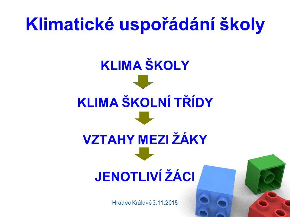 Klimatické uspořádání školy KLIMA ŠKOLY KLIMA ŠKOLNÍ TŘÍDY VZTAHY MEZI ŽÁKY JENOTLIVÍ ŽÁCI Hradec Králové 3.11.2015