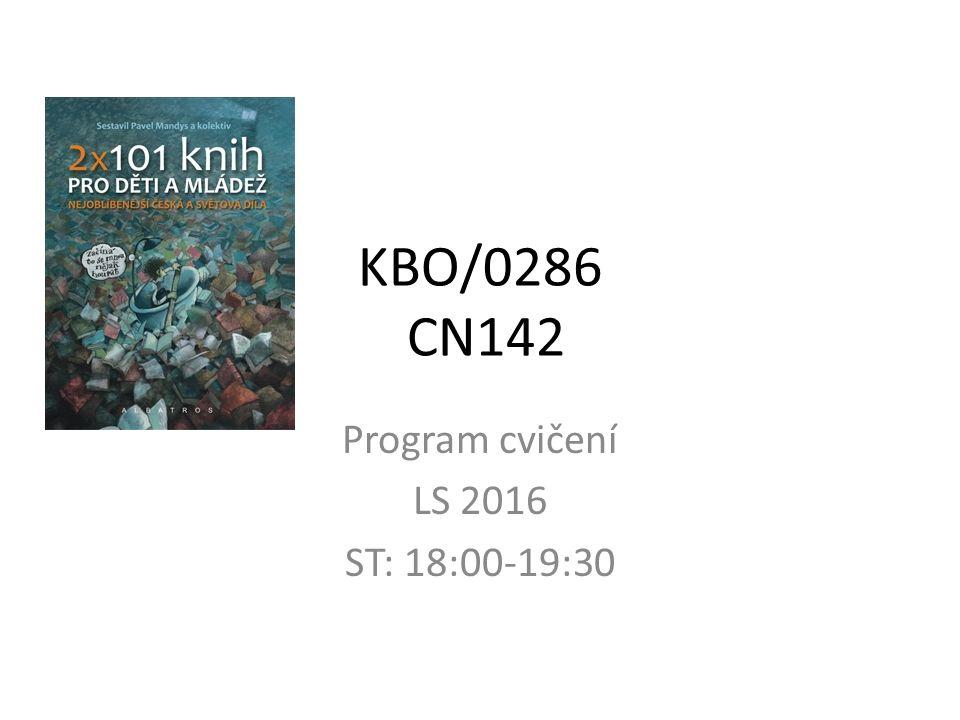 KBO/0286 CN142 Program cvičení LS 2016 ST: 18:00-19:30