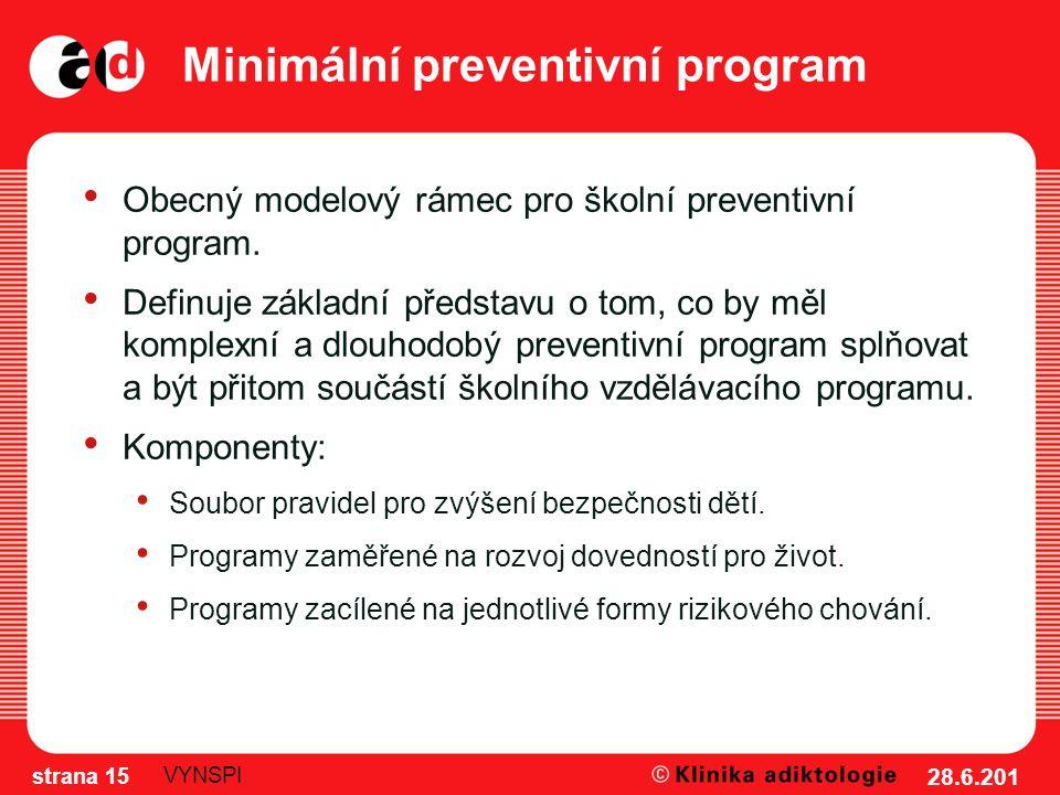 Minimální preventivní program Obecný modelový rámec pro školní preventivní program. Definuje základní představu o tom, co by měl komplexní a dlouhodob