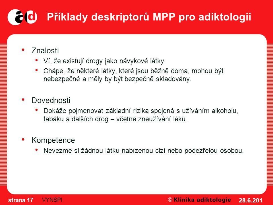 Příklady deskriptorů MPP pro adiktologii Znalosti Ví, že existují drogy jako návykové látky. Chápe, že některé látky, které jsou běžně doma, mohou být