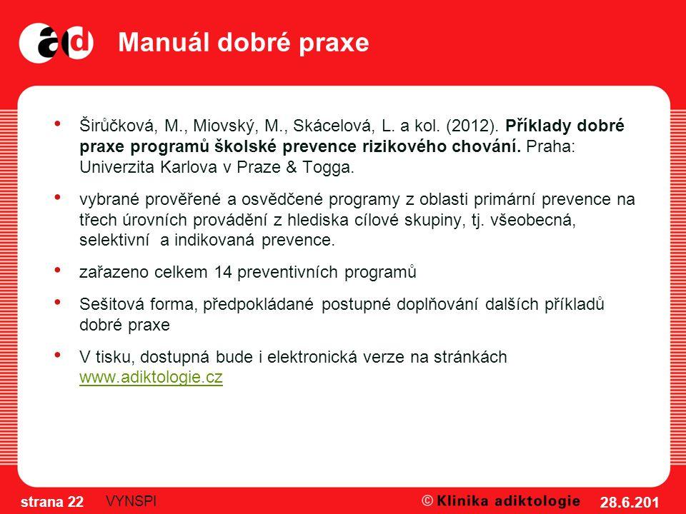 Manuál dobré praxe Širůčková, M., Miovský, M., Skácelová, L. a kol. (2012). Příklady dobré praxe programů školské prevence rizikového chování. Praha: