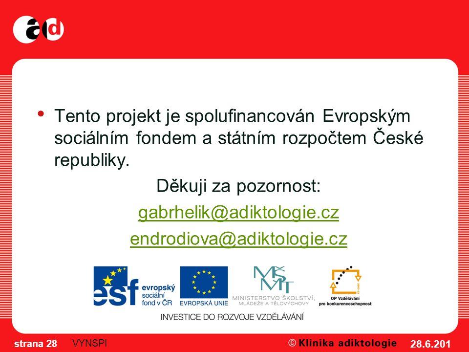 28.6.201 2 strana 28 VYNSPI Tento projekt je spolufinancován Evropským sociálním fondem a státním rozpočtem České republiky.