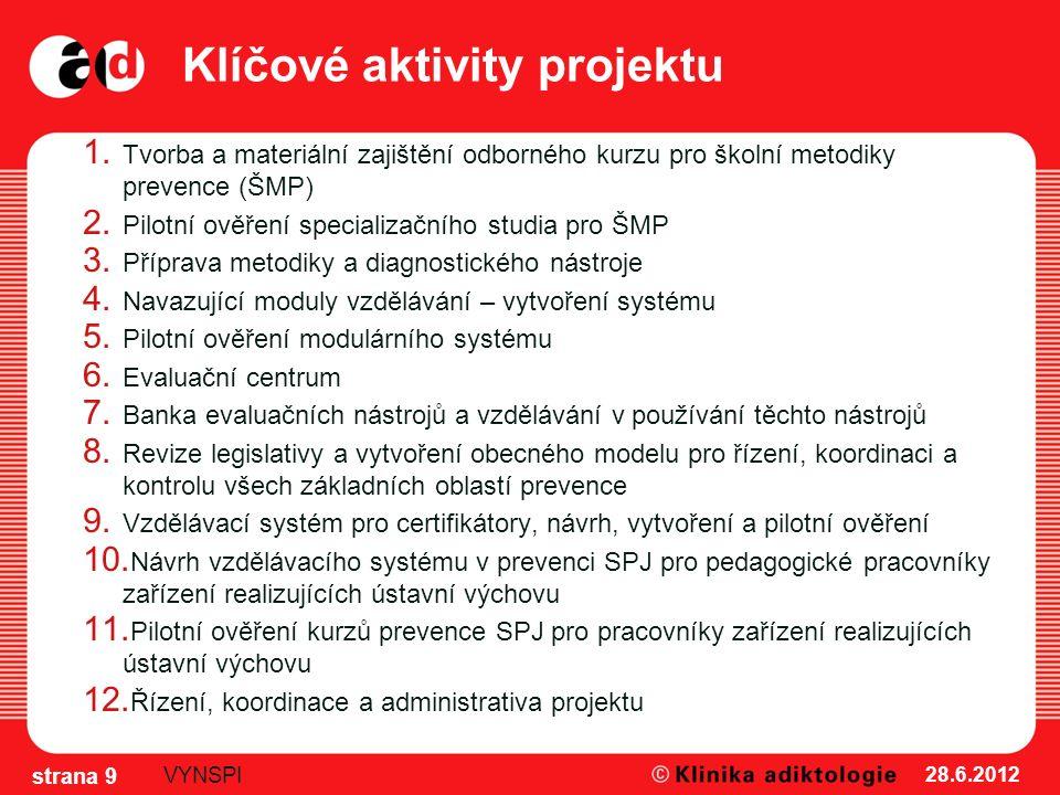 Klíčové aktivity projektu 1. Tvorba a materiální zajištění odborného kurzu pro školní metodiky prevence (ŠMP) 2. Pilotní ověření specializačního studi