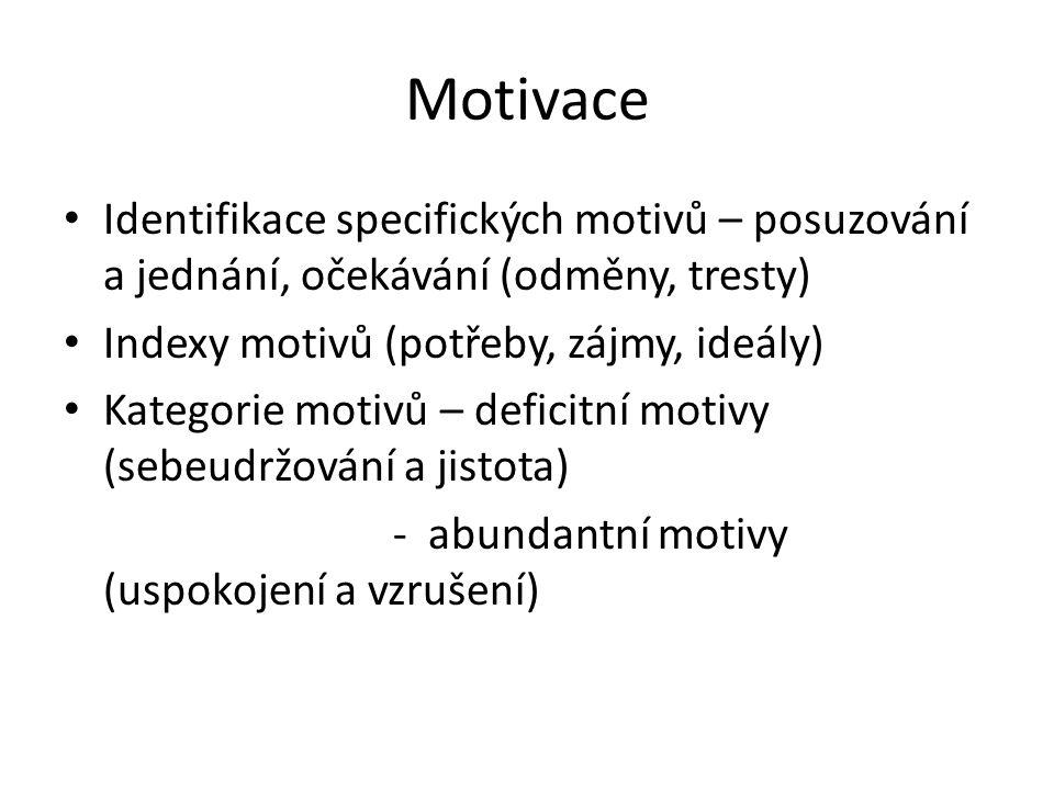 Motivace Identifikace specifických motivů – posuzování a jednání, očekávání (odměny, tresty) Indexy motivů (potřeby, zájmy, ideály) Kategorie motivů –