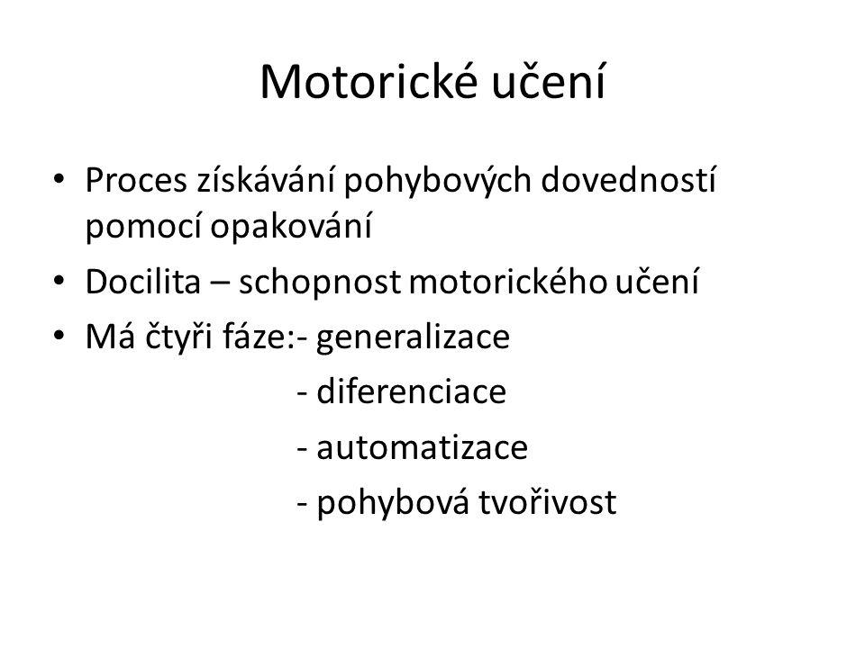 Motorické učení Proces získávání pohybových dovedností pomocí opakování Docilita – schopnost motorického učení Má čtyři fáze:- generalizace - diferenciace - automatizace - pohybová tvořivost