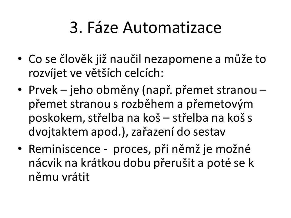 3. Fáze Automatizace Co se člověk již naučil nezapomene a může to rozvíjet ve větších celcích: Prvek – jeho obměny (např. přemet stranou – přemet stra