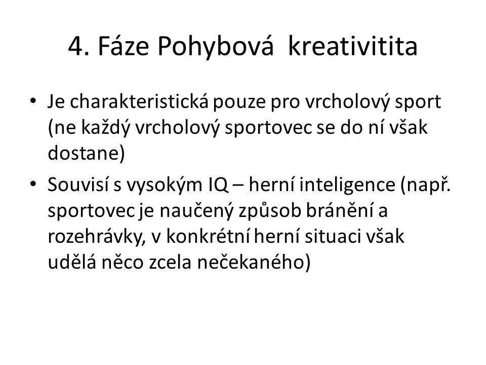 4. Fáze Pohybová kreativitita Je charakteristická pouze pro vrcholový sport (ne každý vrcholový sportovec se do ní však dostane) Souvisí s vysokým IQ