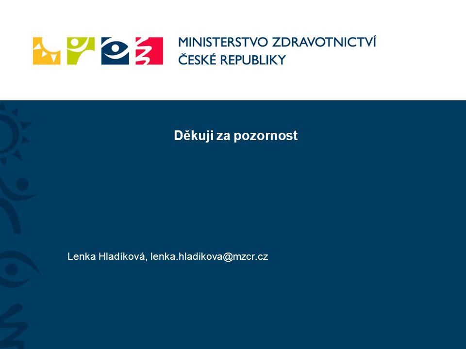 Děkuji za pozornost Lenka Hladíková, lenka.hladikova@mzcr.cz