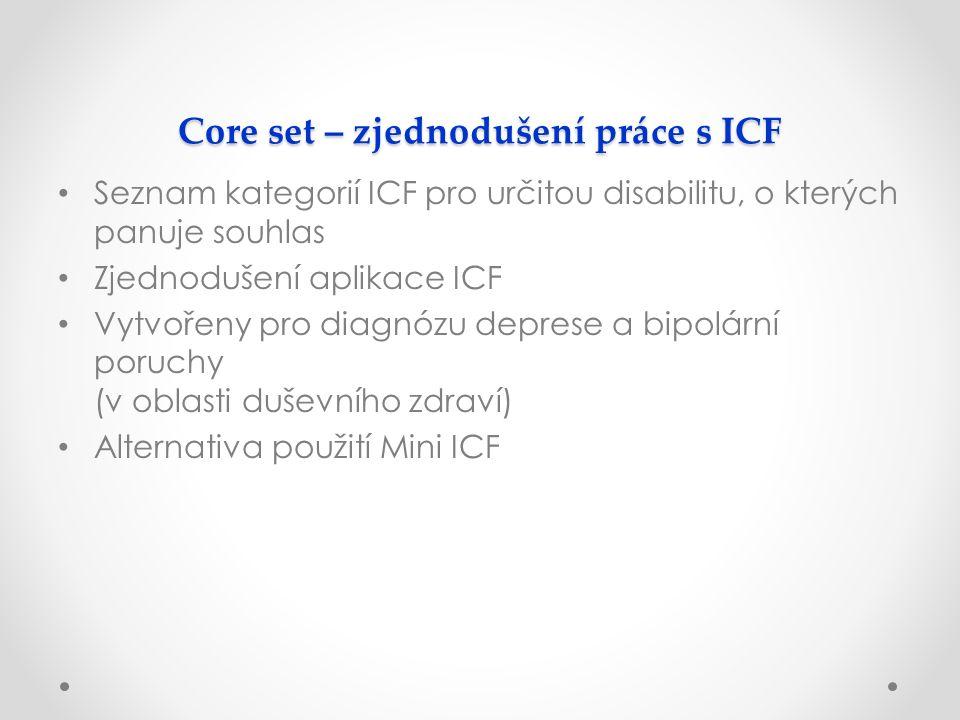 Core set – zjednodušení práce s ICF Seznam kategorií ICF pro určitou disabilitu, o kterých panuje souhlas Zjednodušení aplikace ICF Vytvořeny pro diagnózu deprese a bipolární poruchy (v oblasti duševního zdraví) Alternativa použití Mini ICF