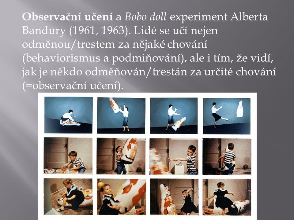 Observační učení a Bobo doll experiment Alberta Bandury (1961, 1963).