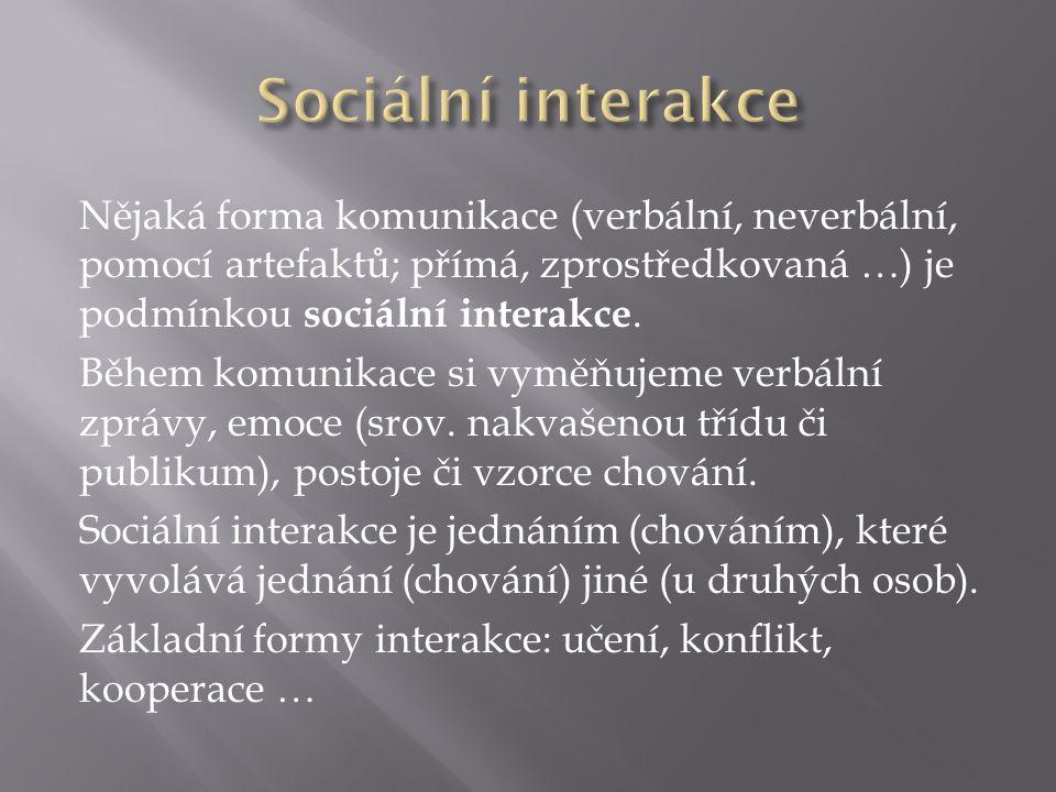 Nějaká forma komunikace (verbální, neverbální, pomocí artefaktů; přímá, zprostředkovaná …) je podmínkou sociální interakce.