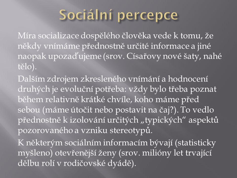 Míra socializace dospělého člověka vede k tomu, že někdy vnímáme přednostně určité informace a jiné naopak upozaďujeme (srov.