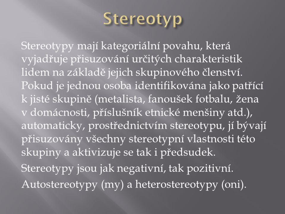 Stereotypy mají kategoriální povahu, která vyjadřuje přisuzování určitých charakteristik lidem na základě jejich skupinového členství.